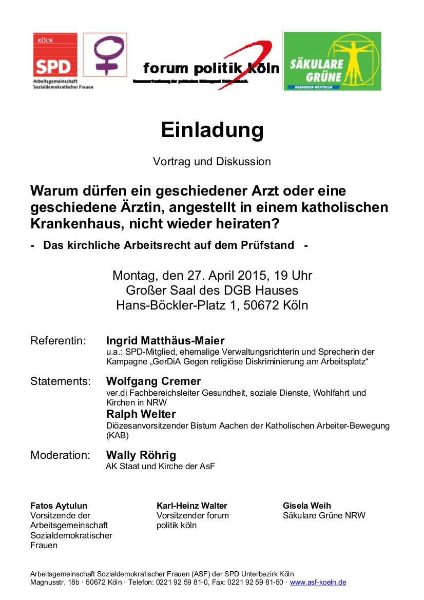 Einladung Veranstaltung zu kirchlichem Arbeitsrecht am 27 04 2015